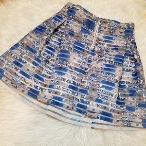 Ginger G Blue Floral Stripe Skirt Large